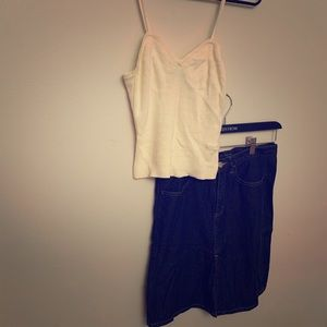 Banana Republic skirt & knit tank top jean & cream